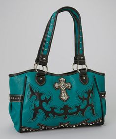 Another great find on #zulily! Turquoise Rhinestone Cross Tote by Montana West #zulilyfinds