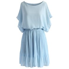 Chicwish Beauty Pleats Batwing Dress in Pastel Blue found on Polyvore featuring polyvore, fashion, clothing, dresses, blue, pleated dress, pastel blue dress, pastel dresses, ruched waist dress and batwing sleeve dress