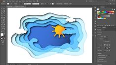 "Learn how to create a paper cut-out effect using the ""blend tool"" and the ""drop shadow"" effect. Useful tutorials for this project: ""How to Use the Curvature . Graphic Design Lessons, Graphic Design Tutorials, Web Design, Graphic Design Posters, Graphic Design Illustration, Graphic Design Inspiration, Cut Paper Illustration, Logo Design, Adobe Illustrator Tutorials"