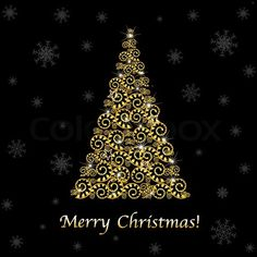 Stock vector of 'Abstract Gold Christmas Tree, On Black Background, Vector Illustration'