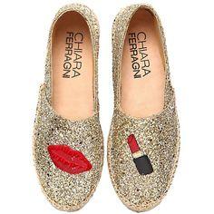 Chiara Ferragni Women 30mm Make Up Glitter Espadrilles (855 RON) found on Polyvore featuring women's fashion, shoes, sandals, flats, espadrilles, scarpe, gold, rubber sole shoes, glitter espadrilles and glitter sandals