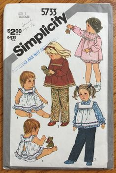 377d6961a8 Vintage 1980s Toddler Size 3 Pull-On Pants Top Pinafore or Sundress and  Panties Simplicity