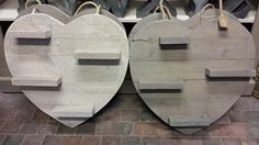 Harten in wassingen met plankjes 60x60 cm