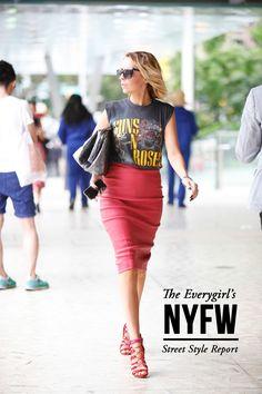 A little bit business, a little bit rock-n-roll.  via The Everygirl's NYFW Street Style Report