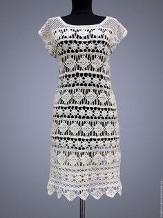 Купить Джейн - белый, в полоску, платье, платье крючком, платье летнее, платье вязаное