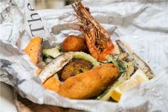 Typical Neopolitan fish and veg street food in a bag, served at Cicchetti, Manchester