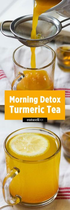 How to Make Detox Turmeric Tea. Start the day with this flavorful and healing lemon, ginger and turmeric detox tea. This turmeric tea is a combination of antioxidant and anti-inflammatory ingredients, with a fabulous flavor and l… Bebidas Detox, Healthy Detox, Healthy Drinks, Healthy Water, Easy Detox, Detox Foods, Eating Healthy, Iaso Tea, Natural Cure For Arthritis