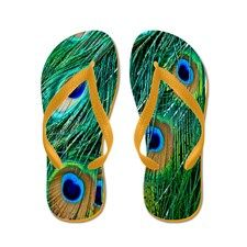 Peacock Feathers Flip Flops for
