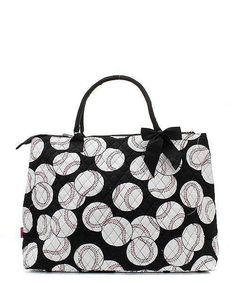 Baseball Print XL Tote Bag Black Trim