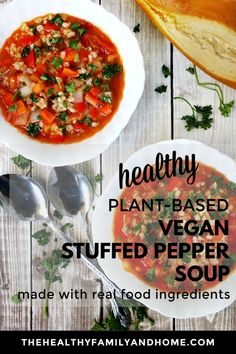The BEST Eating Vegan Stuffed Pepper Soup.a healthy and easy soup recipe that's vegan, gluten-free, dairy-free, meat-free, Medical Medium and Meatless Monday Healthy Vegetable Recipes, Healthy Gluten Free Recipes, Healthy Soup Recipes, Clean Eating Recipes, Whole Food Recipes, Paleo Vegan, Meal Recipes, Vegan Soups, Recipes Dinner