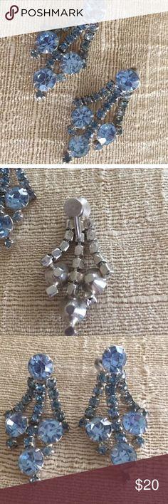Blue Rhinestone Chandelier Screw On Earrings Baby blue rhinestones Screw on posts Prong set stones Estate jewelry Perfect for bride or prom Vintage Jewelry Earrings