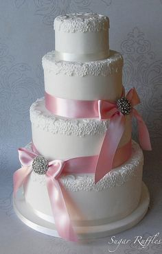 Pink Brooch Wedding Cake