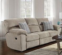 Roundhill Furniture LAF1403CS Fabric Reclining Sofa in Chevron Seal