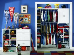 Cubby-style shelves are perfect for storing clothes, toys and sporting equipment.