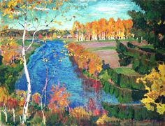 Autumn on the Tosna River. Arkady Rylov. 1920. State Russian Museum (Russia). Painting - oil on canvas