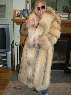 Super Thick Full Length Golden Island Fox Fur Coat