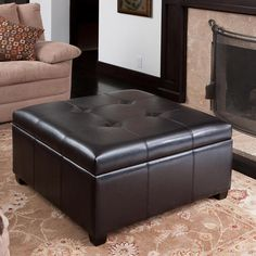 Canyons Bonded Leather Storage Ottoman