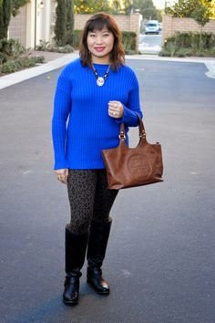 Over 40 fashion blogger, OC Blogger, Ann Taylor Cable Hi-Lo Hem Sweater, Old Navy Leopard Leggings, Tory Burch Bombe Tote, Youniuqe 3 D Fiber Lash Mascara by @alilam1