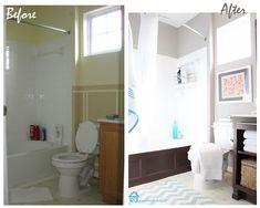 Builder's grade bath transformed on a tight budget.