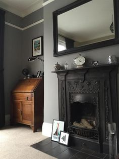 Farrow & ball inspiration gallery * home * in 2019 спальня, Living Room Grey, Home Living Room, Living Room Designs, Living Room Decor, Farrow And Ball Living Room, Victorian Living Room, Victorian Fireplace, Vintage Fireplace, Black Fireplace