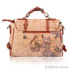 Retro Unique World Map Handbag&Messenger bags