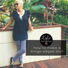 Fringes and tassels are currently en vogue (and totally awesome). I show you how to turn a plain black top into something a fringed shirt. Fringe Shirt, Black Tops, Shirt Dress, T Shirts For Women, How To Make, Dresses, Style, Fashion, En Vogue