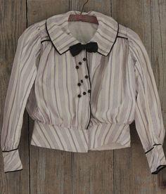 Antique Bodice French blouse c 1900 purple stripes bow Edwardian Era, Victorian, Pretty Outfits, Pretty Clothes, Blouse Vintage, Fashion History, Bodice, Stripes, Bows