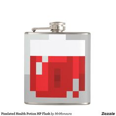 Pixelated Health Potion HP Flask for Video Game Gamers