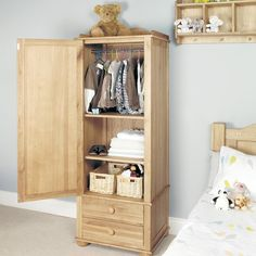 Amelie Solid Oak Children's Single Wardrobe - - Wardrobe - Baumhaus - Space & Shape - 1