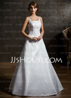Wedding Dresses - $186.99 - A-Line/Princess Square Neckline Floor-Length Organza Satin Wedding Dress With Lace Beadwork Flower(s) (002012906) http://jjshouse.com/A-Line-Princess-Square-Neckline-Floor-Length-Organza-Satin-Wedding-Dress-With-Lace-Beadwork-Flower-S-002012906-g12906