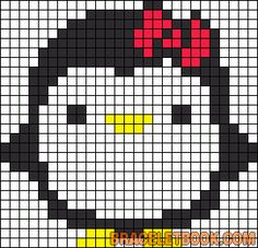 Penguin with bow - free cross stitch or hama beads pattern