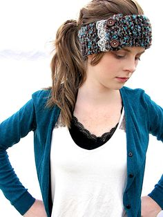 Teal and Brown Knitted Headband.  via Etsy.