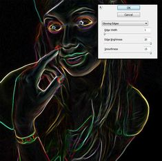 Image result for photoshop filter glowing edges