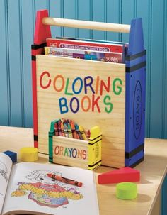 Kids Coloring Book And Crayons Storage Carrier Encourage artistic development with a convenient holder that keeps coloring books and crayons neat, organized and ready for use. This colorful wood. Crayon Storage, Diy Storage, Book Storage Kids, Coloring Book Storage, Coloring Books, Diy For Kids, Crafts For Kids, Woodworking Projects, Diy Projects