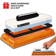 Professional Whetstone Knife Sharpener 2Sided Grit 10006000 with nonslip Bamboo Base and Angle Guide  Best Kitchen Knife Sharpening Stone  Waterstone for Chef Kitchen Pocket Knife and Scissors * Additional info @