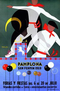 Festival Pamplona * San Fermin, Spain by  T. Vicente 1959  ~Repinned Via Julz Kinsella