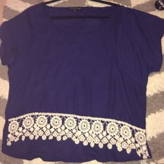 Navy top super cute and never worn! selling because it's too big on me Tops Blouses