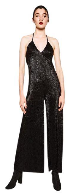 54c87fcb3c352e Zara Halter Polyester Chic Machine Washable Dress Zara Black, Rompers,  Halter Jumpsuit, Chic. Tradesy