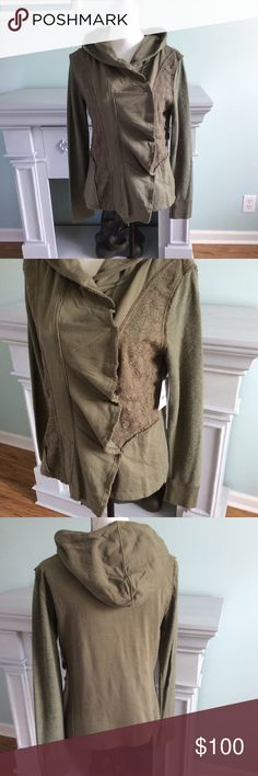 Free People Olive Ruffle Front Jacket Sz Med NWT New with tags Free People Ruffle front olive green hooded jacket. Hidden snap closure. Light /medium weight. Lace panels. Free People Jackets & Coats