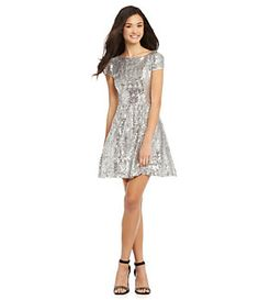 B. Darlin Cap-Sleeve Sequin Skater Dress | Dillard's Mobile