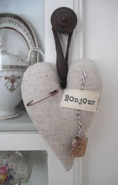 Oatmeal linen heart dangle  sale  by blueberryfields on Etsy