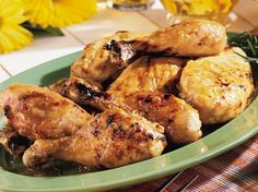 From Betty's Soul Food Collection- real peach of a recipe, with tender chicken drenched in fruit pre.serves and flavored with piquant chopped green chiles. Add fresh green beans and cornbread for a primo dinner.