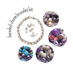 Charm Bracelet Kit with Purple Bead Charms Chain by Adorabilities