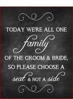 Wedding- Choose a Seat not a Side Chalkboard Print- Instant Download on Etsy, $10.00