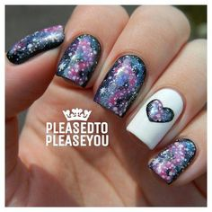Galaxy Heart Nail Art