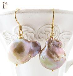 Baroque pearl earrings, mauve pearl earrings, drop earrings, golden sterling 925 earrings, irregular pearl dangle earrings, italian jewelry - Wedding earings (*Amazon Partner-Link)
