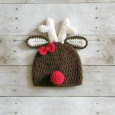 Crochet Girl Reindeer Hat Beanie Christmas Holiday Infant Baby Newborn Toddler…
