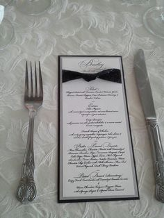 Elegant Black Silver and White Layered Menu with by ECRDesigns, $2.50