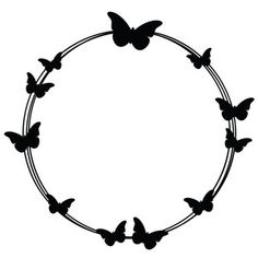 Silhouette Design Store: butterfly circle doodle f Silhouette Design, Silhouette Cameo, Silhouette Portrait, Silhouette Projects, Circle Doodles, Doodle Frames, Wreath Drawing, Borders And Frames, Doodle Designs