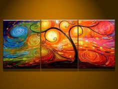 Group painting-Tree Colors 2 -Modern Art Abstract Oil Painting